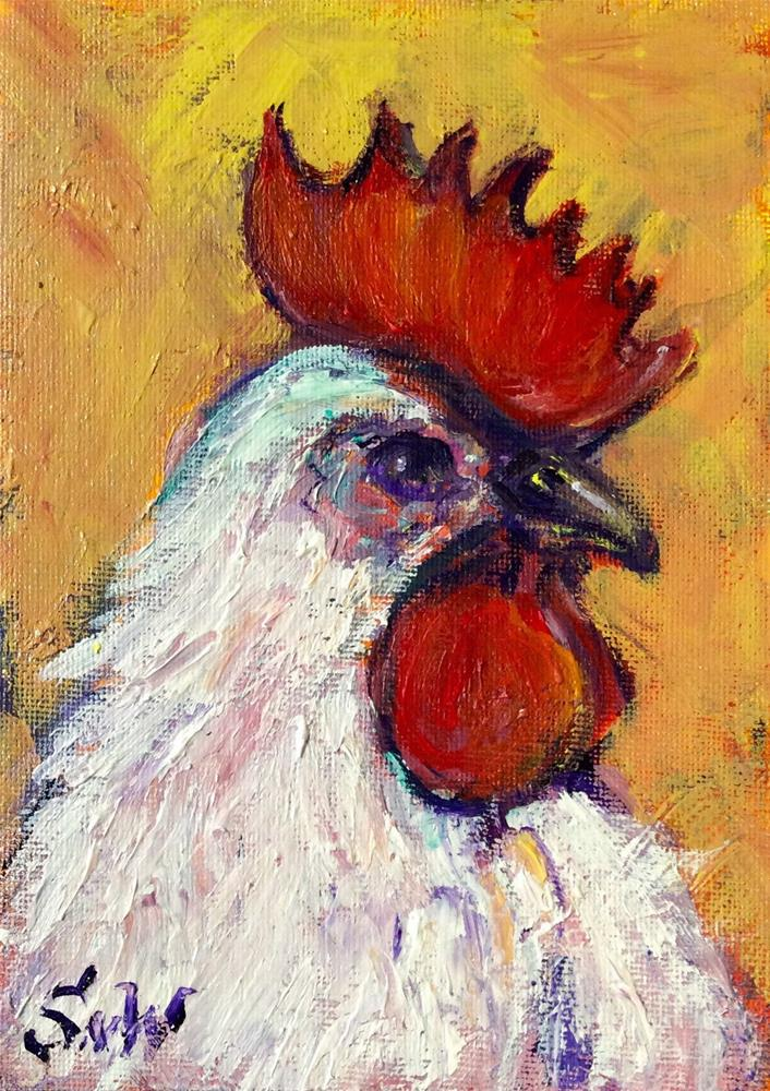 """White Rooster painting"" original fine art by Sonia von Walter"