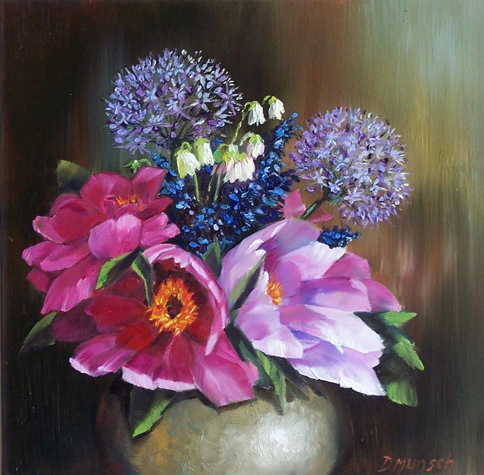 """Silver Vase Flowers"" original fine art by Donna Munsch"