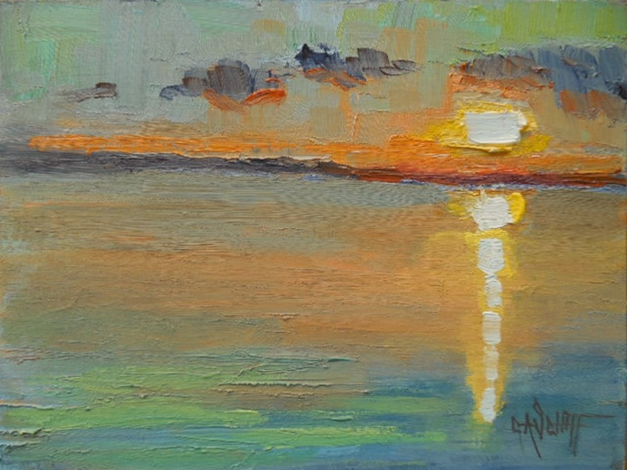 """Abstract Landscape, Abstract Sunset, Daily Painting, Small Oil Painting, 6x8"" original fine art by Carol Schiff"