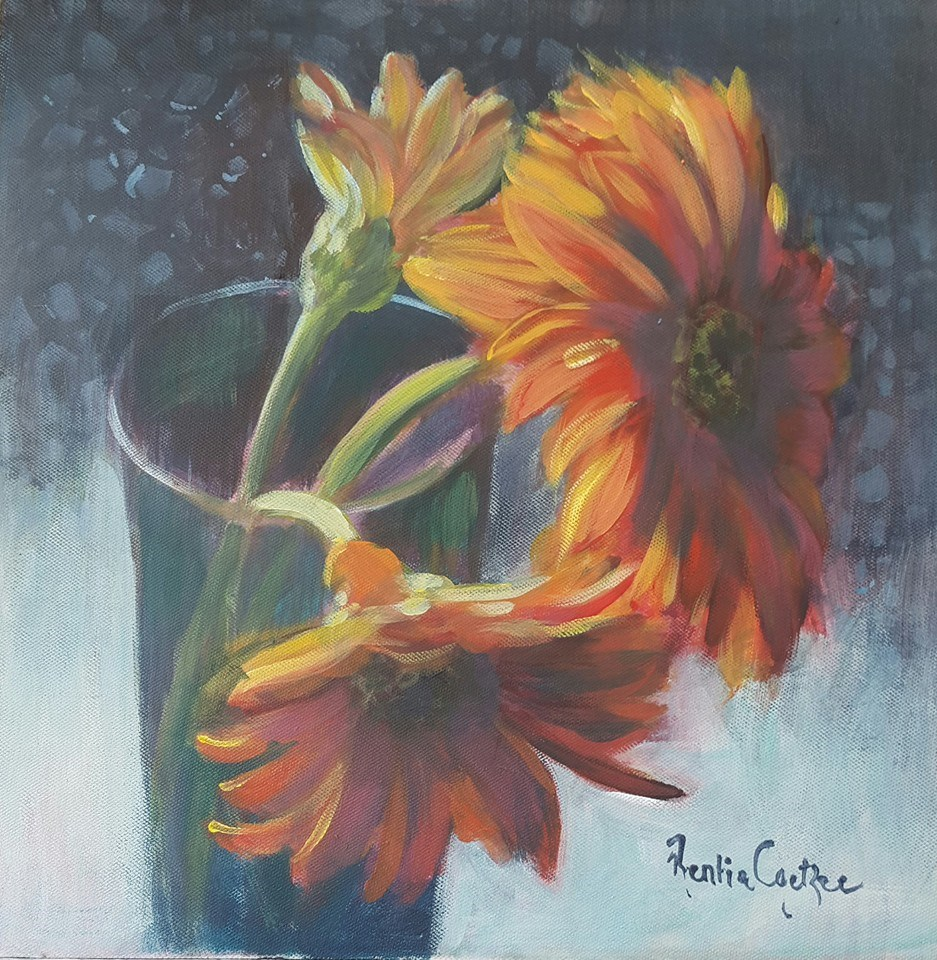 """Orange trio"" original fine art by Rentia Coetzee"