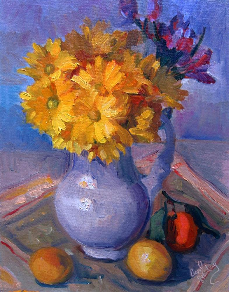 """Daisies in Cream Jug Final"" original fine art by Carol Steinberg"