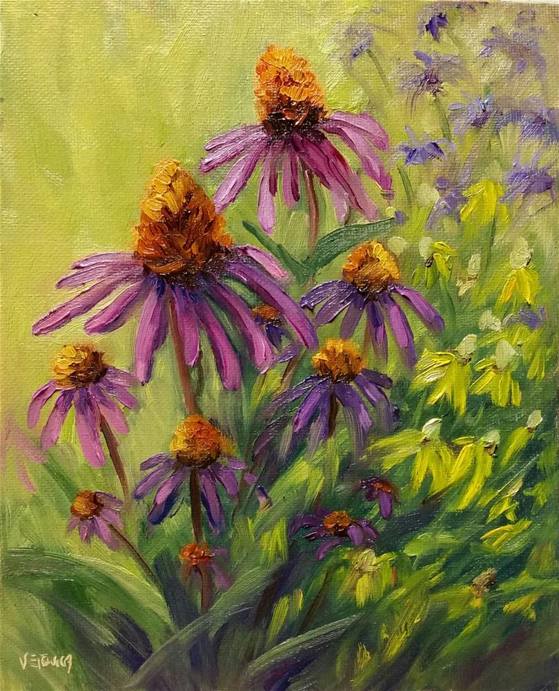 """Shaw Cone Flowers-en plein air"" original fine art by Veronica Brown"