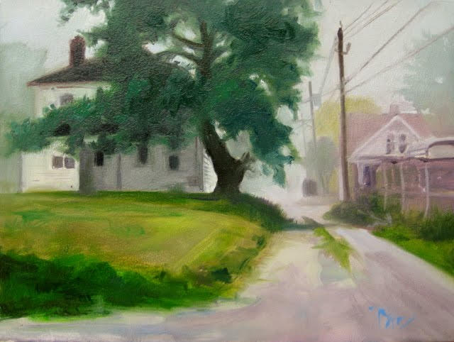 """Morning Fog   landscape oil painting , Lansing Ohio"" original fine art by Robin Weiss"
