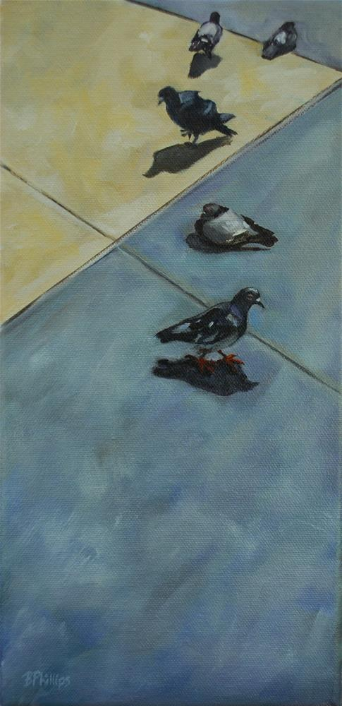 """Pigeons in the plaza"" original fine art by Beverley Phillips"