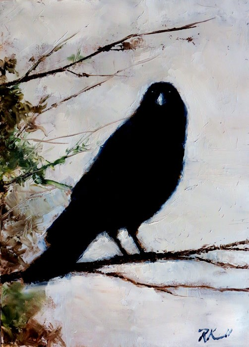 """Raven in a Tree"" original fine art by Bob Kimball"