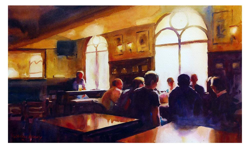 """Meeting in the pub"" original fine art by Graham Berry"