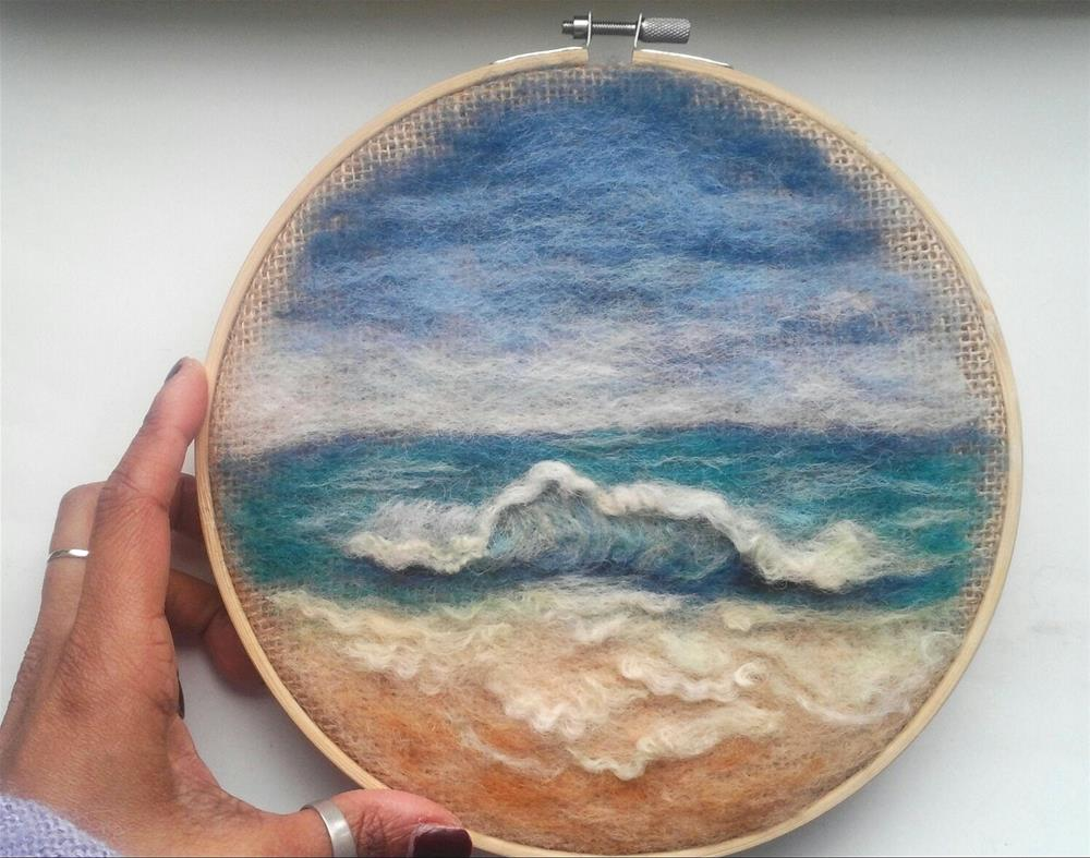 """Embroidery Hoop Art Beach"" original fine art by Camille Morgan"