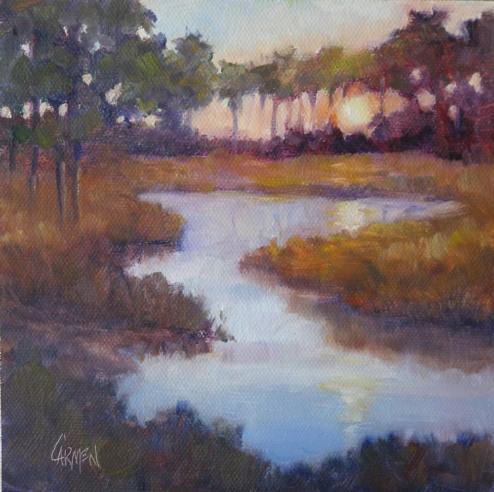 """Low Country Sunset, 6x6"" original fine art by Carmen Beecher"