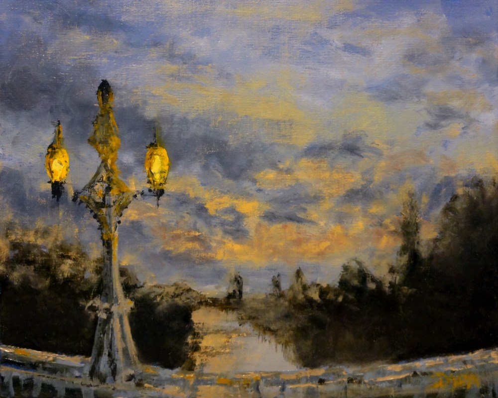 """Bridge Lanterns At Sunset"" original fine art by Dalan Wells"