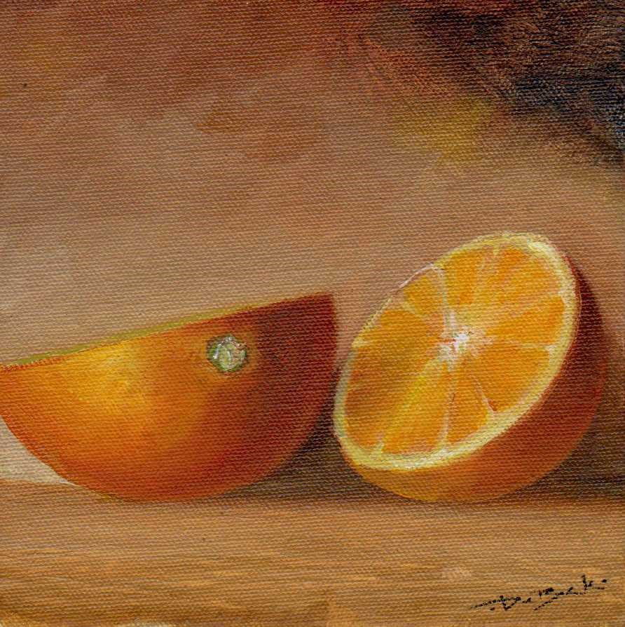 """Cut orange"" original fine art by Vova DeBak"