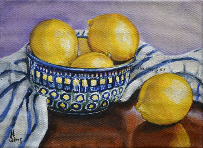 """Bowl of Lemons: Polish Pottery LXXXIV"" original fine art by Heather Sims"