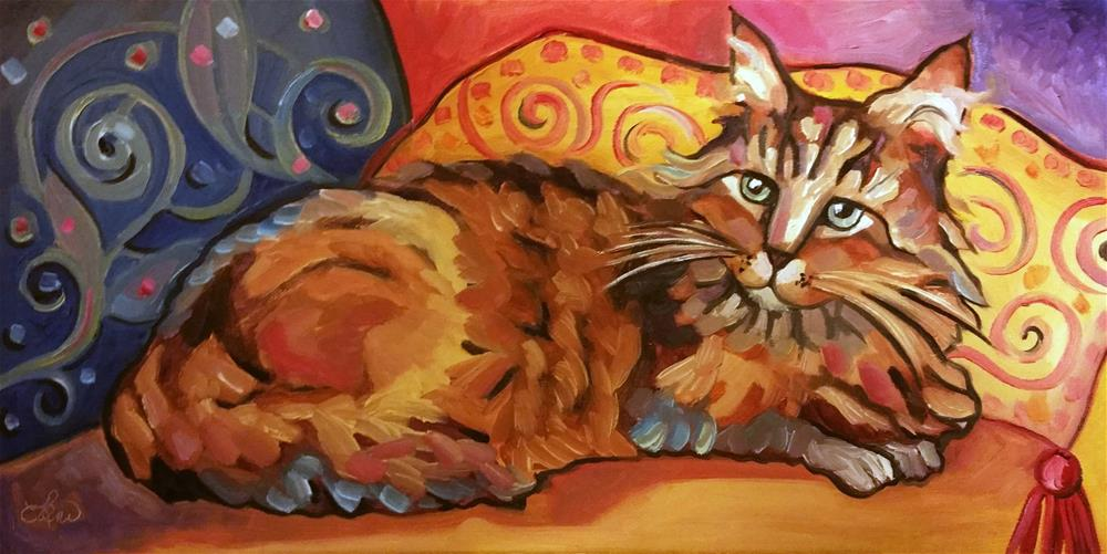 """Cozy Coon Cat"" original fine art by Leni Tarleton"
