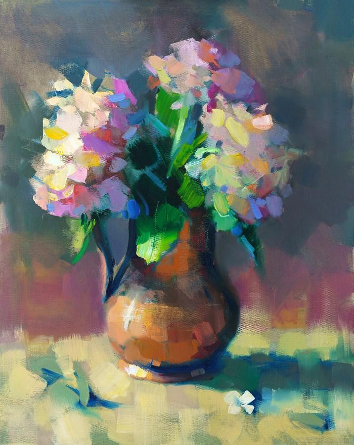 """Hydrangeas and Copper Pitcher"" original fine art by Trisha Adams"