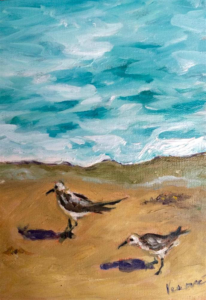 """Sandpipers"" original fine art by Valerie Vescovi"