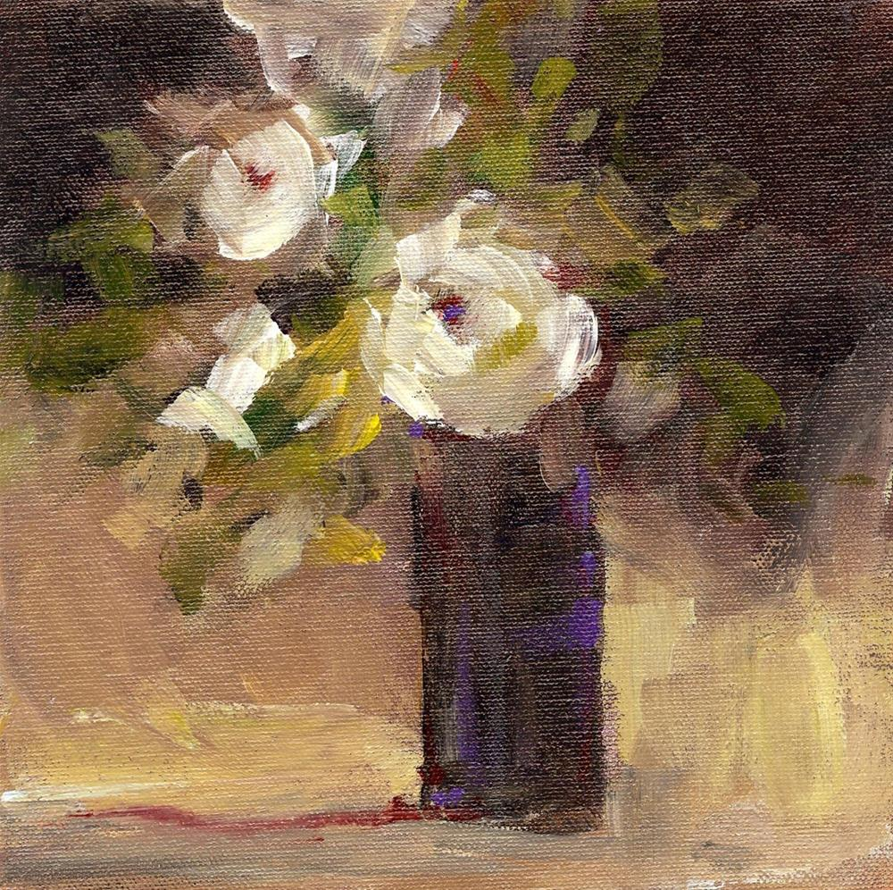 """White Rose Bouquet"" original fine art by Margie Whittington"