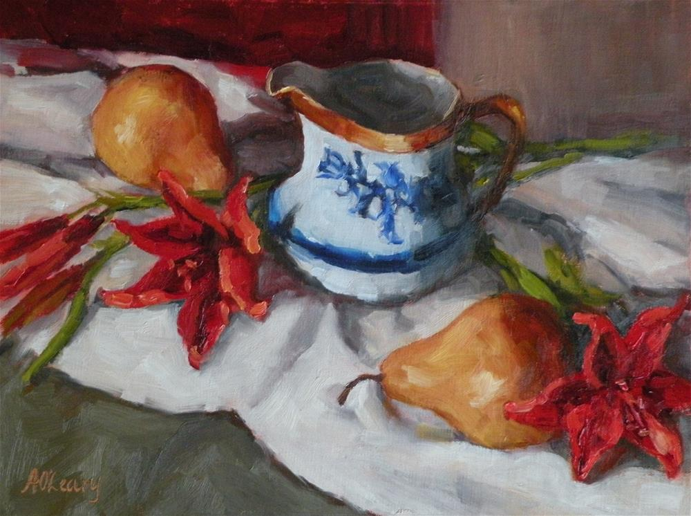 """Red Lilies with Pears"" original fine art by Alice O'Leary"