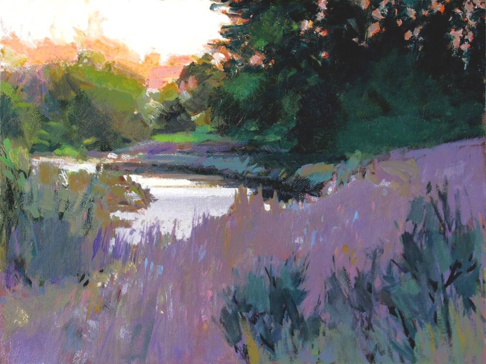 """Sunset Creek"" original fine art by Gretchen Hancock"