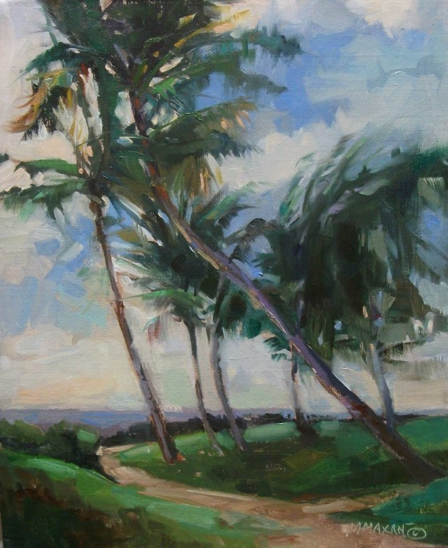 """To The Beach..... a breezy walk through Hawaiian Palms"" original fine art by Mary Maxam"