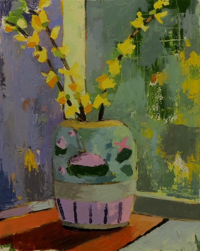 """Forsythia Vase"" original fine art by Joan Wiberg"