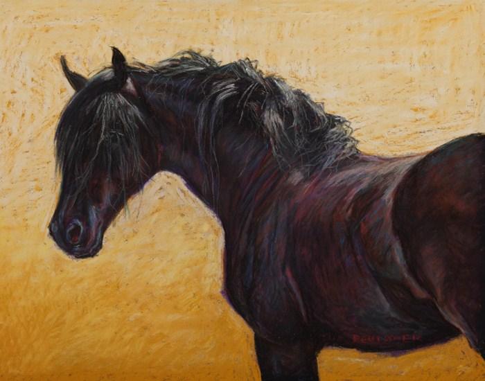 """""""Friesian Black Horse"""" original fine art by Sue Deutscher"""