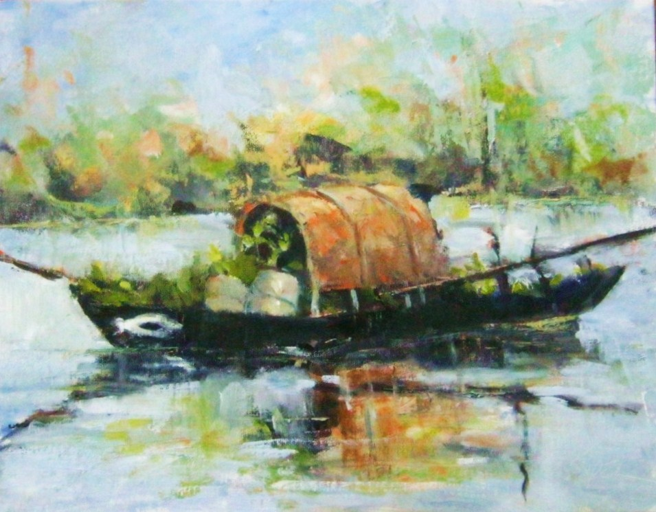 """Asian Boat"" original fine art by Connie Snipes"