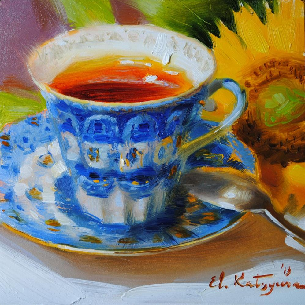 """Sunflower Tea        Sold"" original fine art by Elena Katsyura"