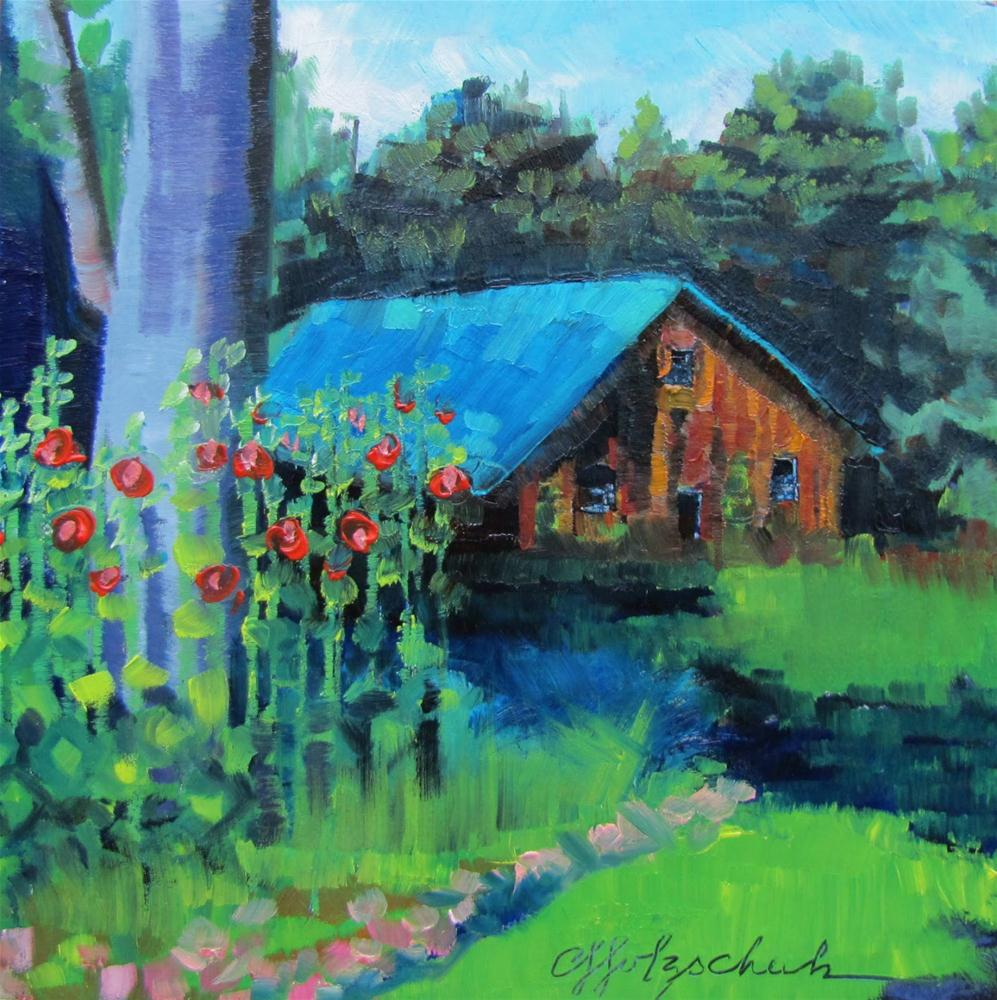 """Garden Shed  6x6 oil  landscape"" original fine art by Christine Holzschuh"
