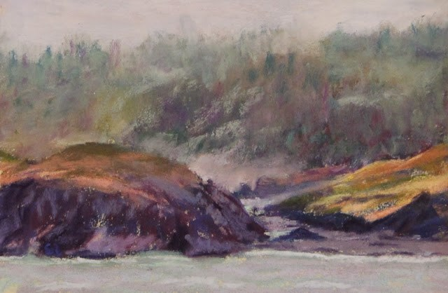 """Misty Shore"" original fine art by Sharon Lewis"