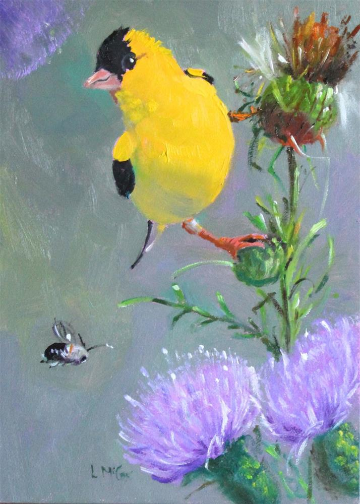 """Thistle Feeders, Finch Oil Painting"" original fine art by Linda McCoy"