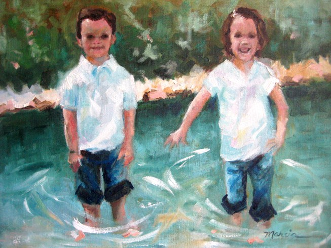"""Lindsee and Dylan"" original fine art by Marcia Hodges"