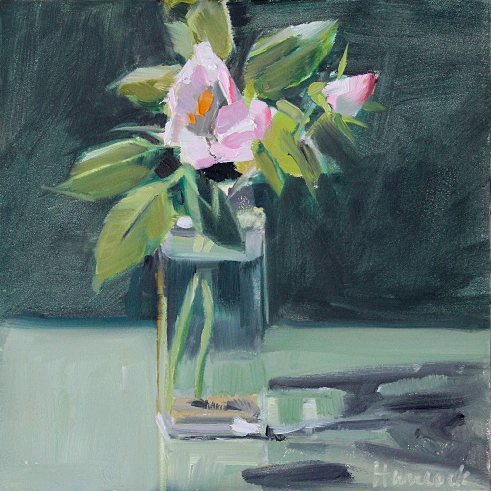 """Pink Rose, Square Jar, Light and Dark Green"" original fine art by Gretchen Hancock"