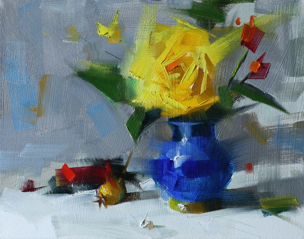 """""Yellow Rose in Blue Vase"" original fine art by Qiang Huang"