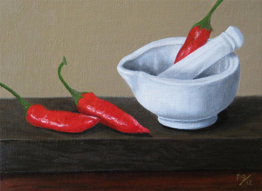 """Pestle and Mortar with red Chillies"" original fine art by Pera Schillings"