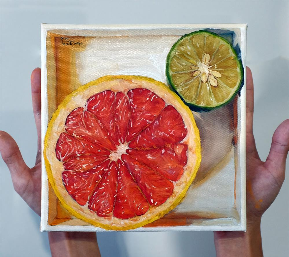 """Grapefruit & Lime in a  box"" original fine art by Haze Long"
