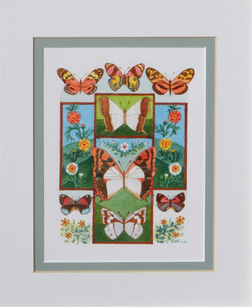 """Cross with Butterflies #2"" original fine art by Velma Davies"