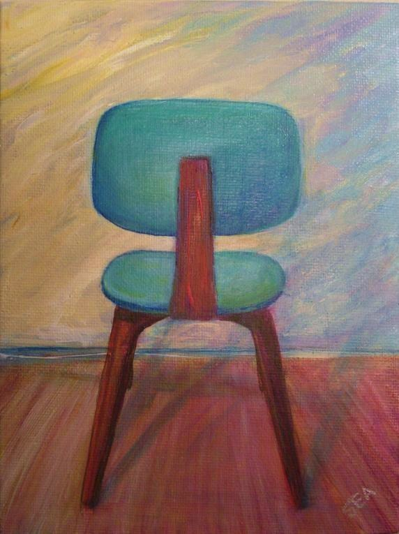 """2052 - Turquoise Oak Thonet - Mid Century Modern Series"" original fine art by Sea Dean"