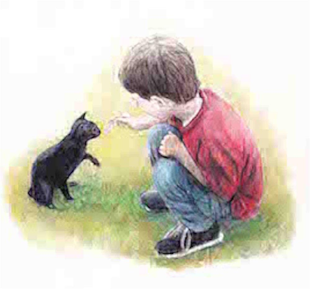 """Boy with Cat"" original fine art by Charlotte Yealey"