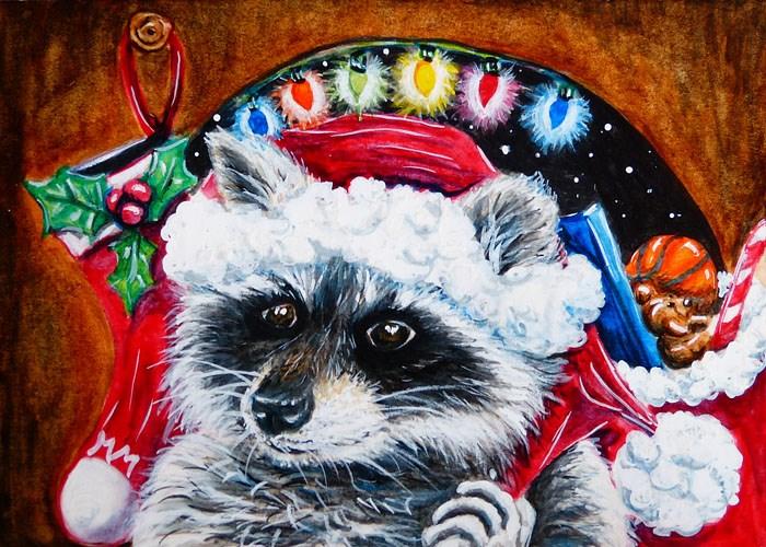 """Raccoon Santa Claus"" original fine art by Monique Morin Matson"