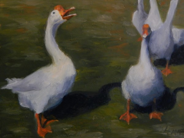 """Laughing Duck, Duck...Goose?"" original fine art by Lori L. Lamb"