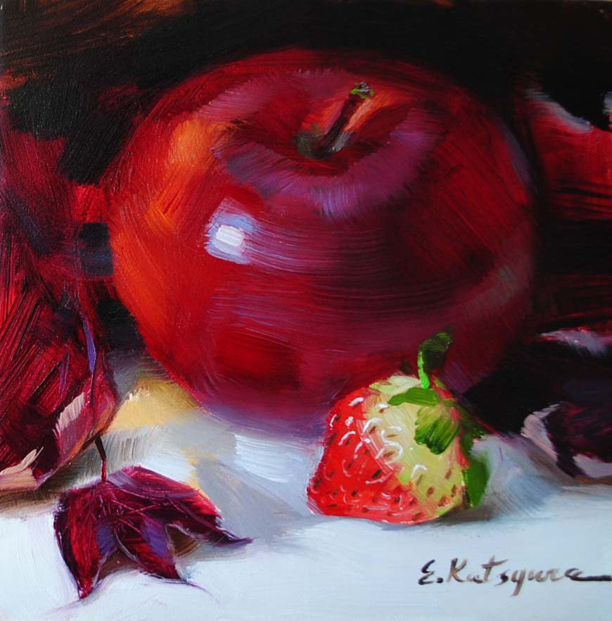 """Wine Apple"" original fine art by Elena Katsyura"