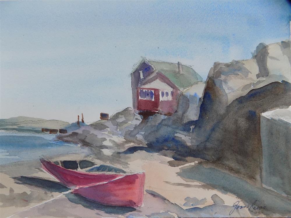 """Old Red Boat"" original fine art by Joan Reive"