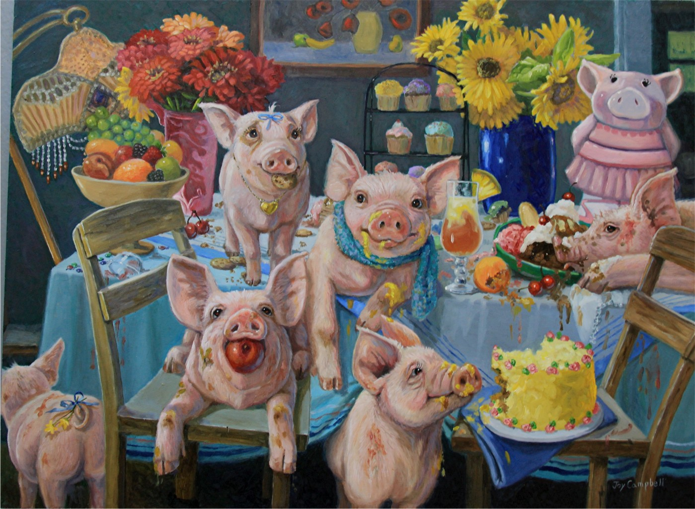 """Piggie Party"" original fine art by Joy Campbell"
