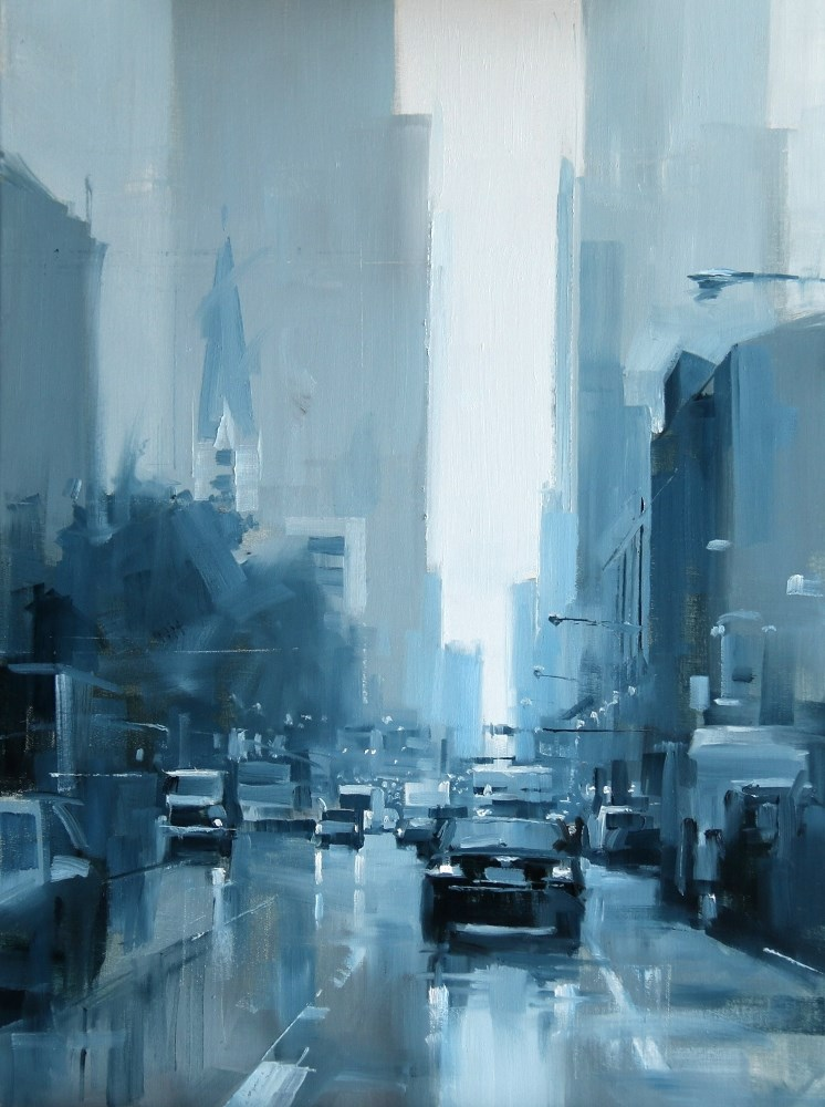 """ A Rainy Day in Chicago"" original fine art by Qiang Huang"