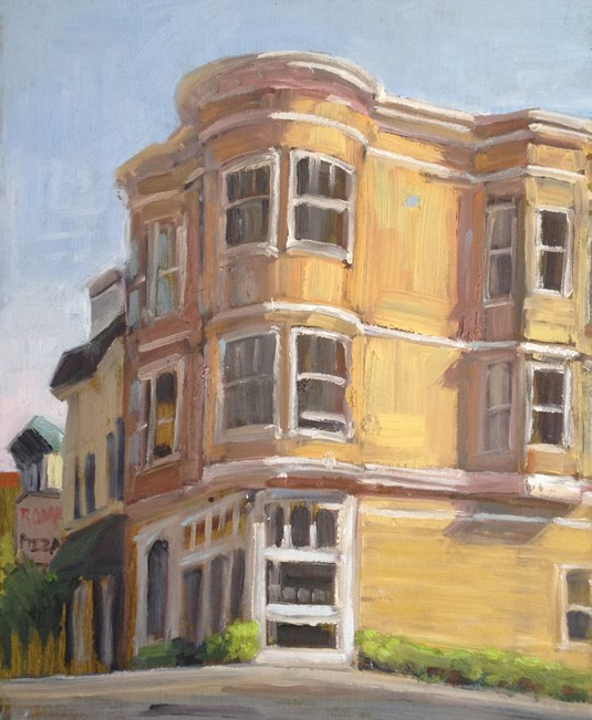 """On the Corner"" original fine art by Deborah Newman"