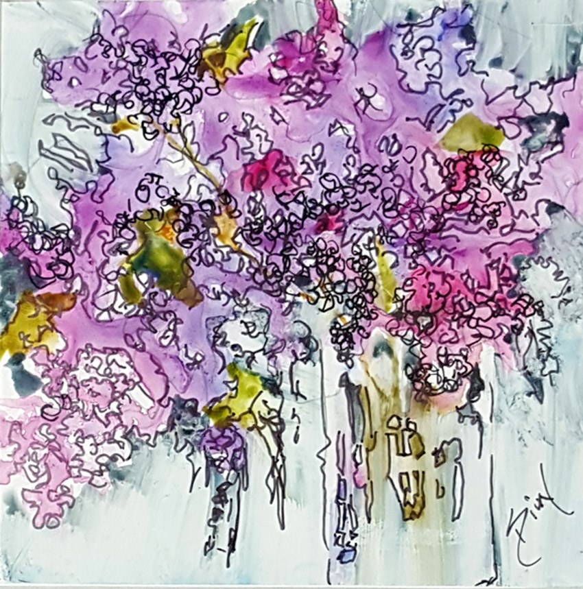 """Lilac Burst on Yupo"" original fine art by Sue Dion"