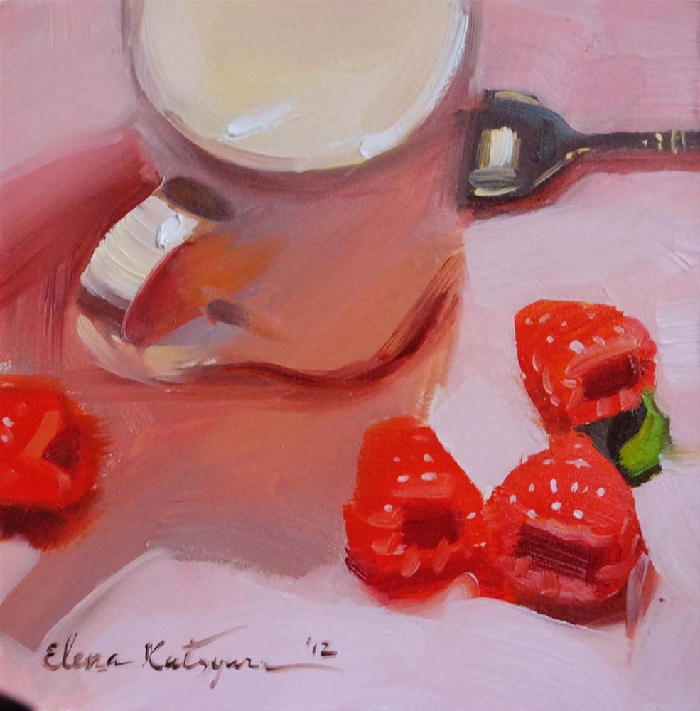 """Raspberries on Pink"" original fine art by Elena Katsyura"