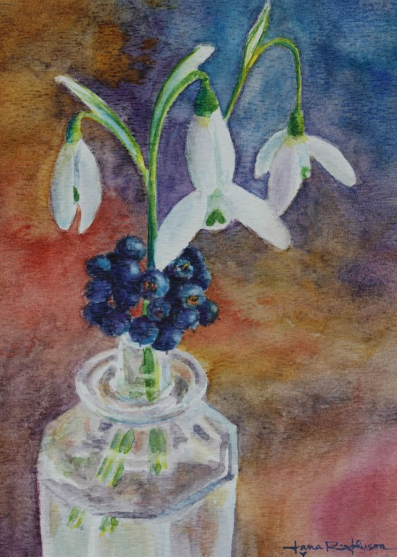 """Snowdrops and Berries"" original fine art by Jana Johnson"