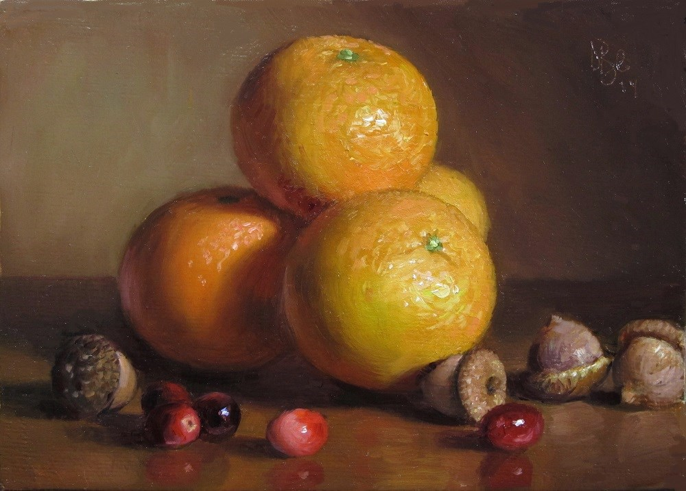 """Clementines, Acorns and Cranberries"" original fine art by Debra Becks Cooper"