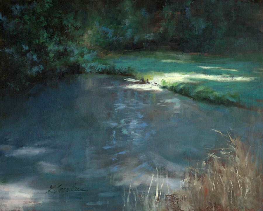 """Secluded Pond"" original fine art by Linda Jacobus"