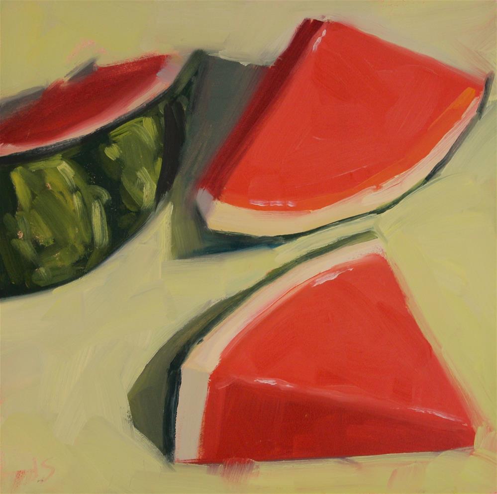 """Watermelons on Green"" original fine art by Jamie Stevens"